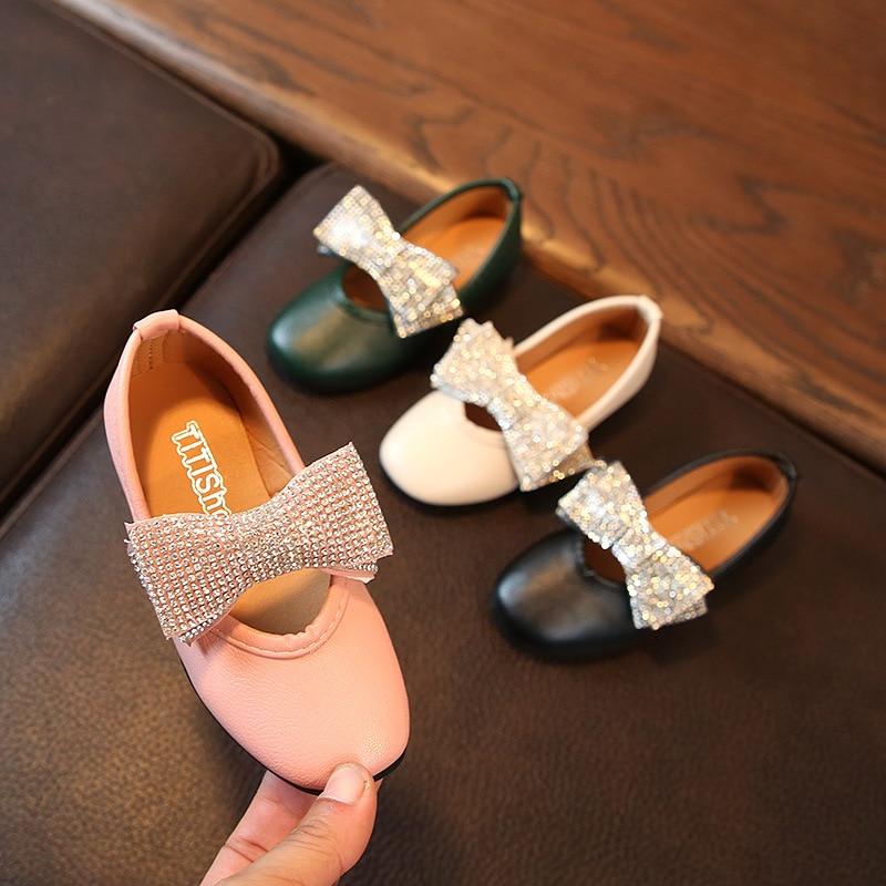 BAIYOUXIONG NEW Children Girl Shoes Fashion Princess Bowknot Dance Nubuck Leather Single shoes Casual Solid PU Baby Girls Shoe