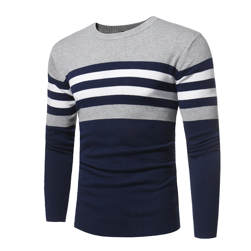 Sweater Men 2018 Brand Pullovers Casual Sweater Male O Collar Stripe Simple Slim Fit Knitting Mens Sweaters Man Pullover Men