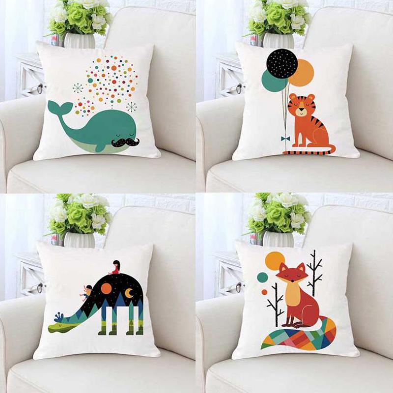 Cute Cartoon Animal Nordic Cushion Whale Tiger Wolf Elepahnt Giraffe Dinosaur Deer Fox Dog Pillow For Children Room Decoration