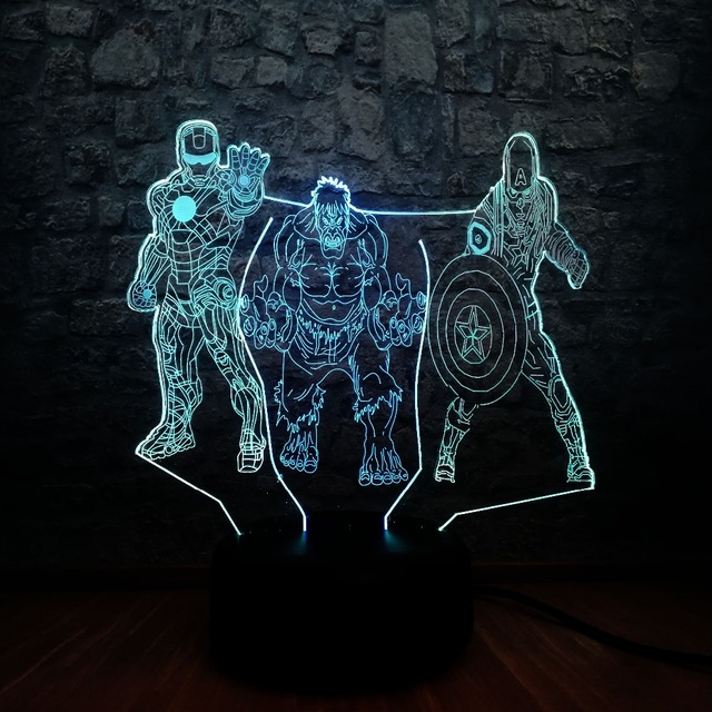 Vingadores Marvel 3D Conduziu a Lâmpada Luz Da Noite de Super-heróis homem De Ferro Hulk Capitão América 7 Misto RGB Mudança de Cor Decoração Do Quarto brinquedos de Presente