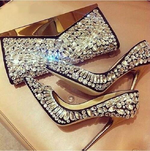 Elegant Jeweled Leather Pumps Women High Heels Crystal Embellished Dress Shoes Pointed Toe Slip-on Rhinstone Bride Wedding Shoes