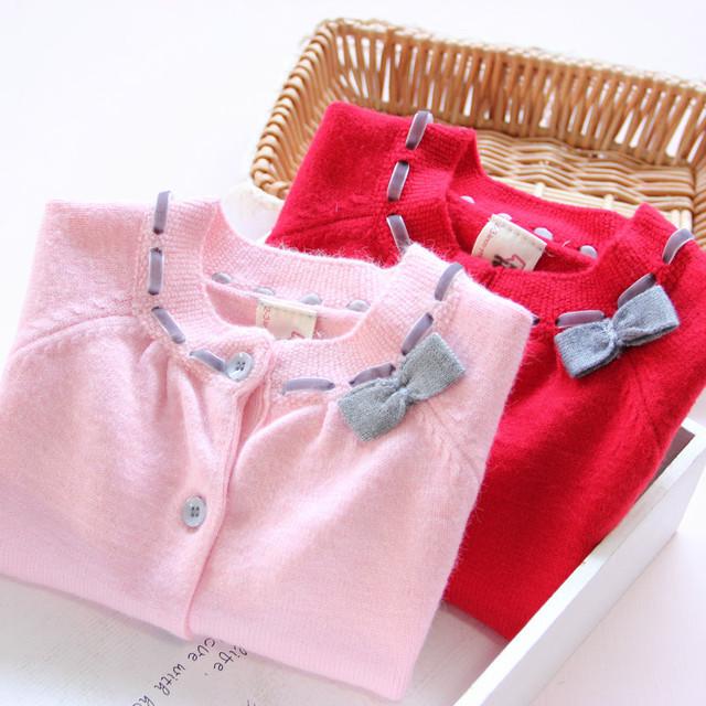 31071646 Venta Al Por Menor 2016 Del Bebé Niño Niña Suéter de Punto Sweatercoat Cardigan Solid Bow Rebordear Sashes Abrir Stitch Lolita