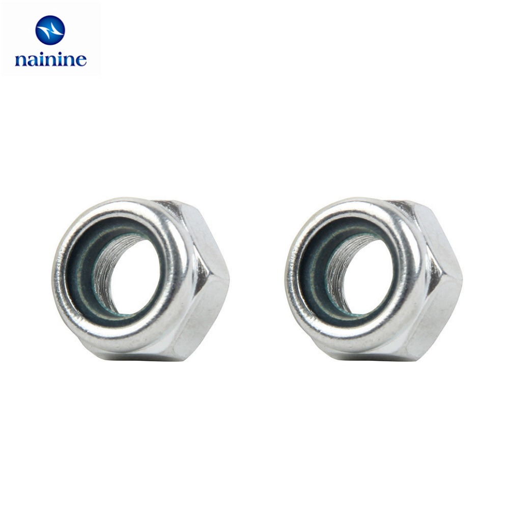 50Pcs DIN985 M2 M2.5 M3 M4 M5 M6 M8 Galvanized Carbon Steel Self-locking Nut Lock Nut Locknut Slip Nylon Hex Nut HW008