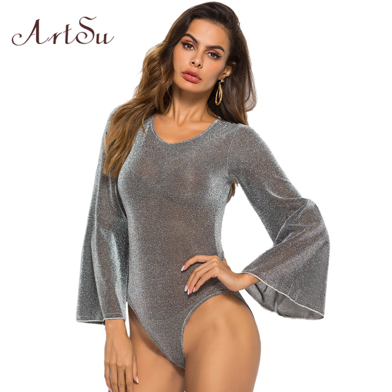 ArtSu Autumn Bodysuit Sexy 2018 Round Neck Long Sleeve Skinny Bodysuit One Piece Women Streetwear Bodysuit Plus Size ASJU30435
