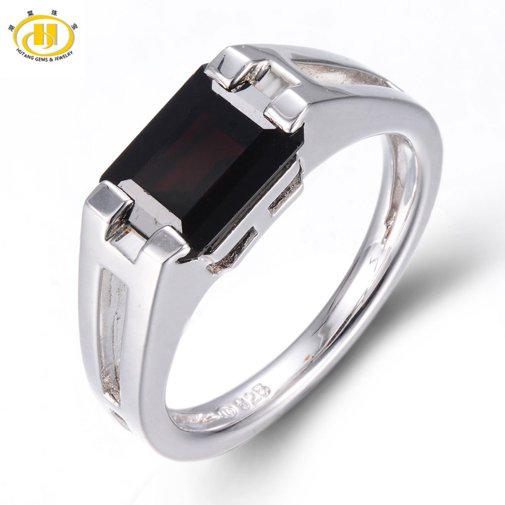 HUTANG Mystery Natural Black Garnet Ring Solid 925 Sterling Silver Mens Womens Emerald Cut Gemstone Fine Jewelry New Arrival