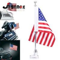 Chrome Motorcycle Rear Side Mount Flag Pole Holder America USA Flag For Harley Luggage Rack