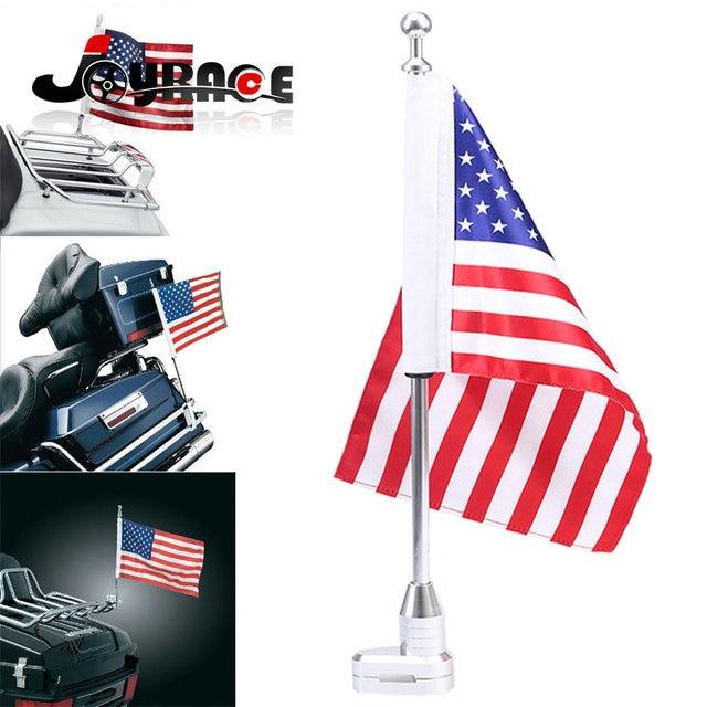 Chrome Motorcycle Rear Side Mount Flag Pole Holder America Usa Flag