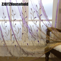 Fresh Garden Embroidered Purple Curtain Screen,Tulle for Living Dining Room Bedroom