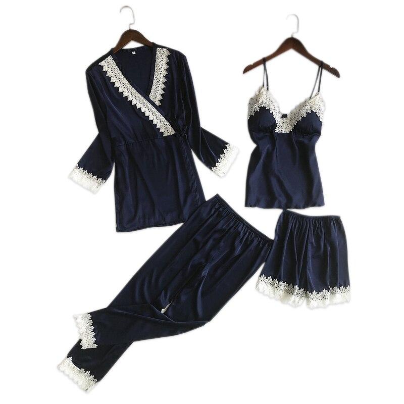Korea Elegance Sexy Lace Satins Silk 4-piece Suit Pajamas Sets Women Long Sleeve Silky Pyjamas Shorts Women Pijamas Homewear