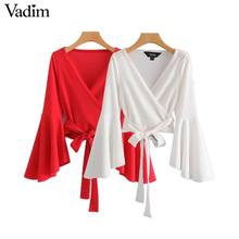 Vadim women bow tie cross V neck crop tops sashes flare sleeve short wrap blouse shirt casual red white tops blusas LA967