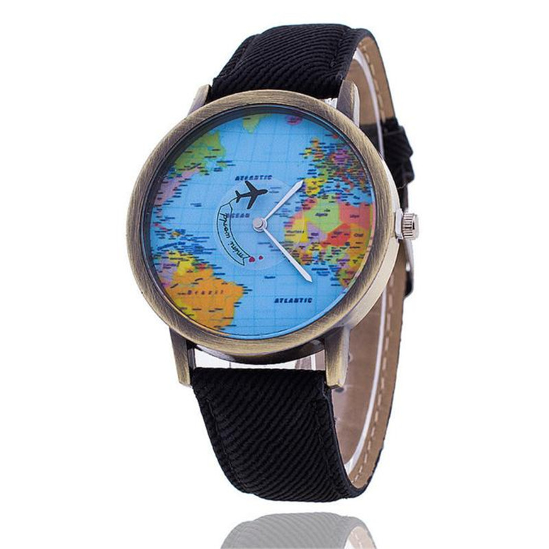 Couple Watches Men Women World Map Design Analog Quartz Watch Leather Wristwatch Reloj Round Case Time Clock Lady A34