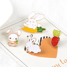 Super Cute Rabbit Carrot Bros Enamel Pin Lucu Hewan Kelinci Menyukai Wortel Kerah Pin Jaket Denim Ransel Kartun Perhiasan(China)