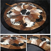 Fashionable art carpet 100% natural genuine cowhide leather baby play mat