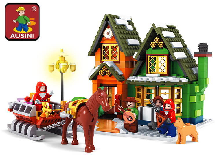 Ausini Santa Claus Building Blocks City Post Office Assembling Blocks Hot Toy for Children Model Building Christmas Gift 25607 outdoor christmas decoration inflatable santa claus 20ft high 6m high factory direct sale bg a1188 toy