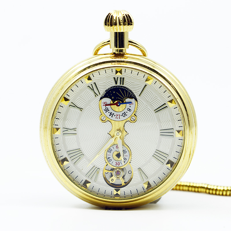 Mechanical Hand Wind Gold Pocket Watch Steampunk Roman Numbers Steel Fob Watches PJX1251 10pcs lot vintage bronze roman numbers open face pocket watch mechanical automatic self wind with 30 cm chain fob watches