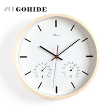 JUH A Modern Quartz Wall Clock 12-inch Natural Wall Clocks With Thermometer and Hygrometer Funchtional For Hotel Office Home