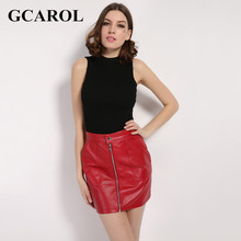GCAROL Women Zipper Faux Leather Polyester Lining Skirt