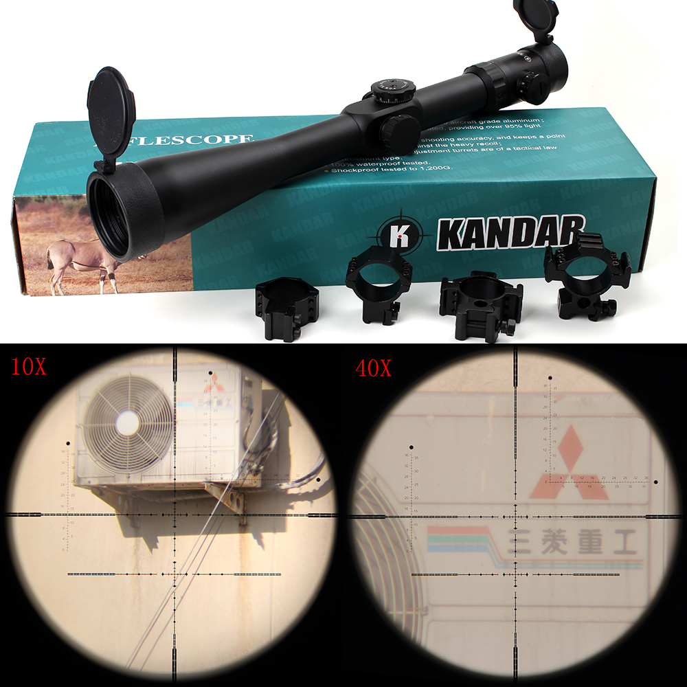 Tactical KANDAR 10-40x56 SFIR Hunting Rifle Scope Glass Etched Side Parallax R/G Illuminated Riflescope with Two Styles Rings весы jkw 40 x 10 g dps1