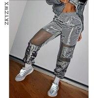 84f88cd3a ZKYZWX Sexy Stitching Mesh Long Harem Pants Summer Women Joggers Harajuku  Fashion Streetwear Mid Waist Sweatpants