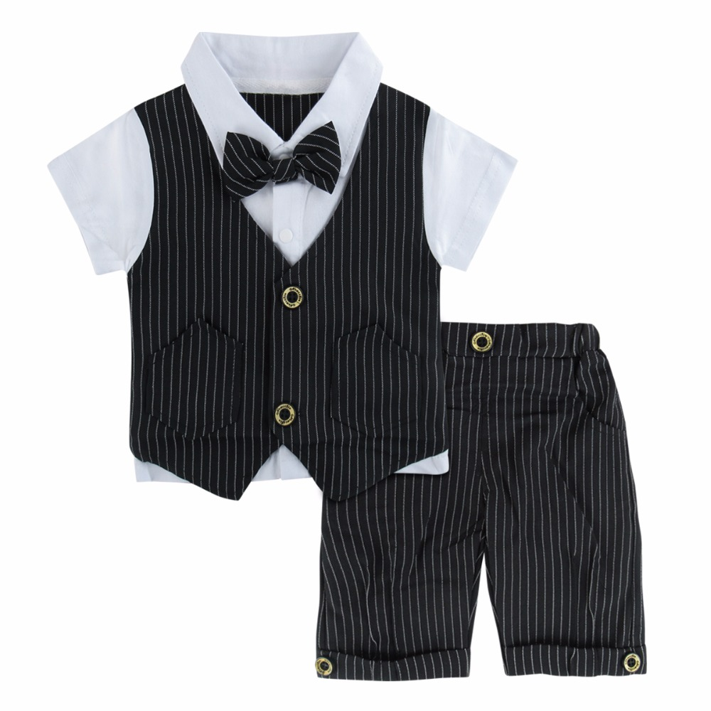 Baby Boys Wedding Suit Set infant Gentleman Clothes with Bowtie Newborn Summer Clothing Black Short Sleeve Ropa Bebe baby boys clothes casual cartoon long sleeve top jeans 2pcs suit baby boys clothing set newborn infant clothing roupas de bebe