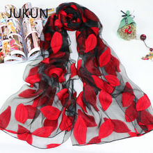 Womens Summer Breeze Lightweight Sheer Wrap Organza Gauze Scarf Leaves pattern Summer Beach Scarves Shawl chic exuberant peonies and leaves pattern shawl wrap chiffon scarf for women