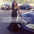 2017 fuera del hombro cristales top sweetheart negro de la muchacha de baile vestidos largos atractivos de la muestra verdadera sirena negro africano prom dress