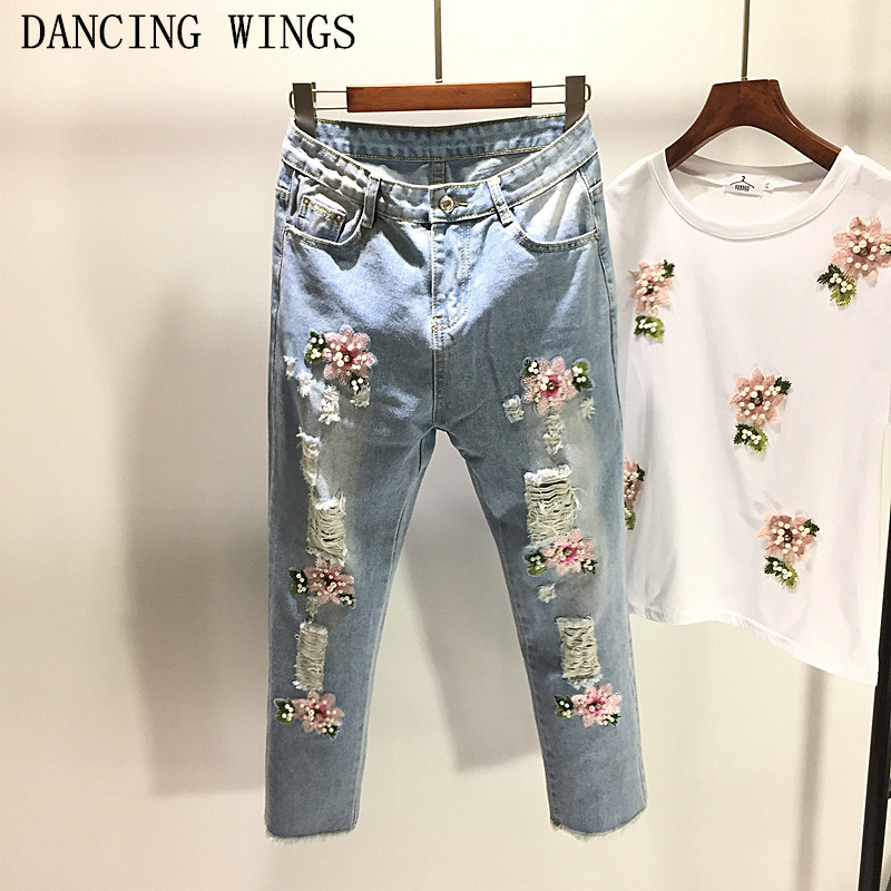 Spring Summer Women's Ripped Jeans Loose Hole Flowers Embroidery Beaded Denim Pants Ankle-Length Burrs Harem Pants Female