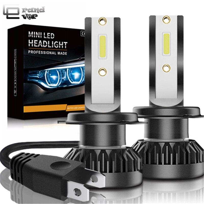 2 piezas de la linterna del coche Mini lámpara H7 bombillas LED H1 LED H7 H8 H11 faros Kit 9005 HB3 9006 HB4 para Auto 12 V lámpara LED 60 W 8000LM