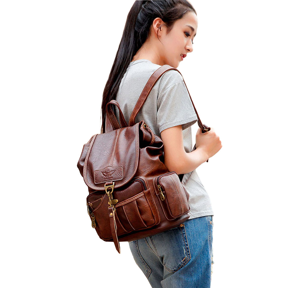 Vintage Women Backpack for Teenage Girls School Bags Large Drawstring Backpacks High Quality PU Leather Black Vintage Women Backpack for Teenage Girls School Bags Large Drawstring Backpacks High Quality PU Leather Black Brown Bag XA658H