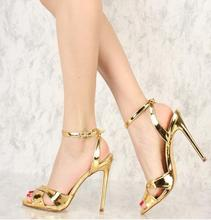 Gold Metallic Heels Sandals Open Toe Stiletto Heel Slingback Sandals Summer Sexy Ankle Strap High Heels Shoes Woman цены