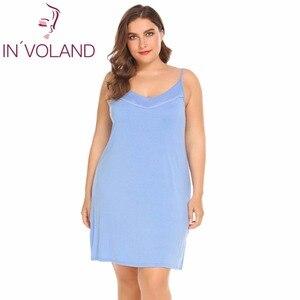 Image 4 - INVOLAND femmes Slip robe de nuit grande taille XL 5XL été salon Chemise à bretelles grande Chemise de nuit robes robes oversize
