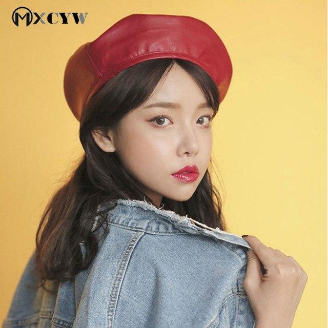 dcaea99118aa1b 2018 Fashion Women Beret Hat Korean Style Felt Pu Leather Solid Spring  Autumn Female Retro Beanie Casual Cap Headwear For Girls