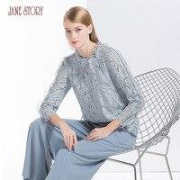 Джейн история для женщин блузка 2018 Весна Новый дизайн длинный рукав О образным вырезом цветочный принт элегантный кружево шифоновая