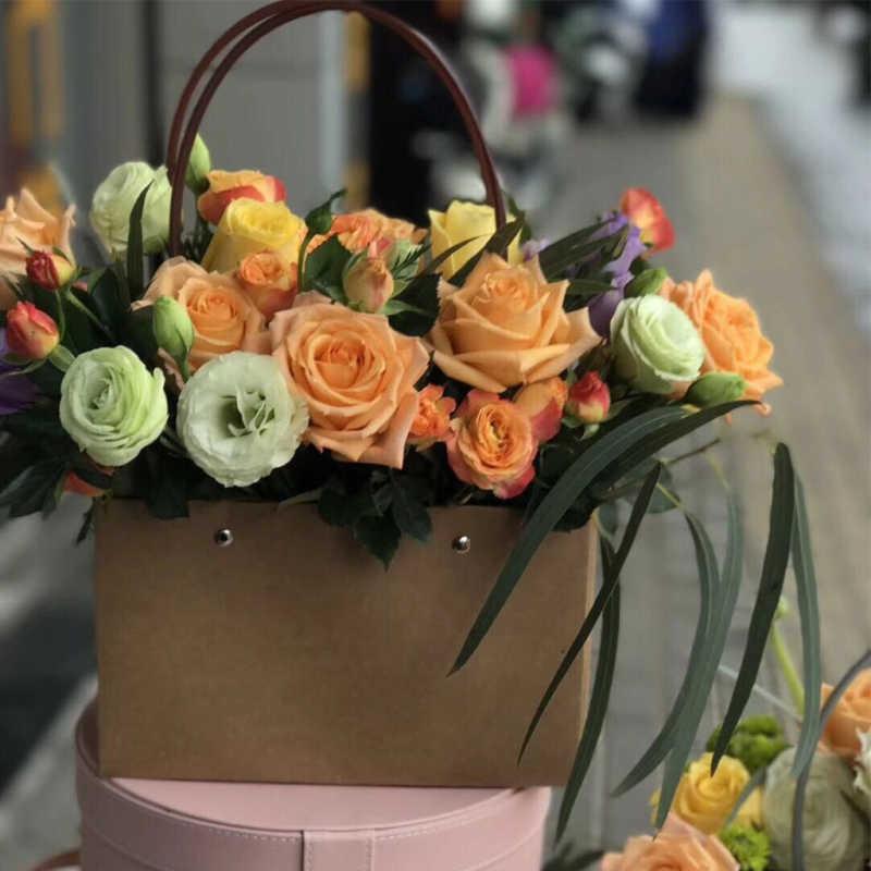 Kantong Kertas Kraft Kotak Bunga Tas Buket Bunga Tas Hadiah Hari Rose Valentine Kotak Pesta Dekorasi 22*11*10 Cm