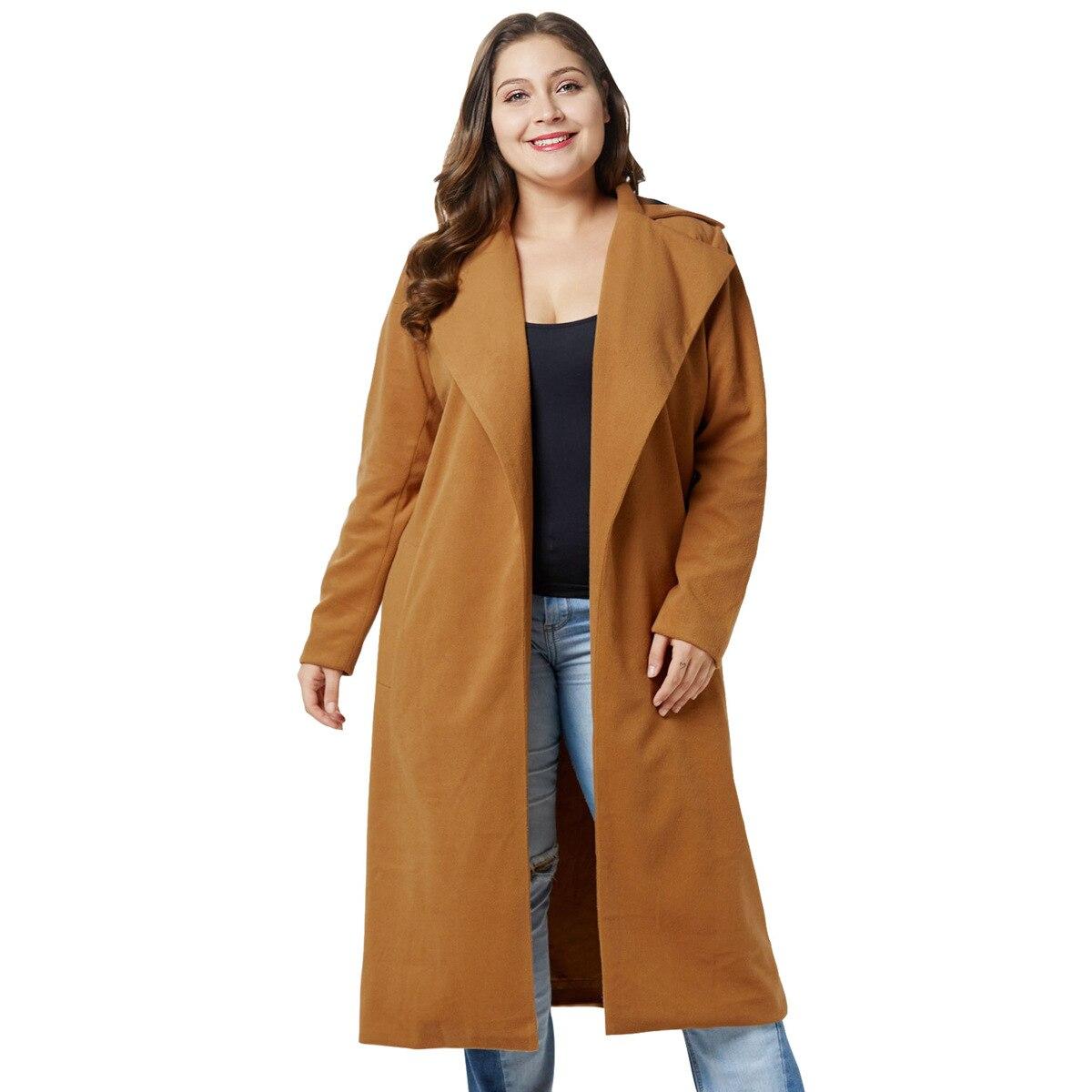 c800d8fa7e909 La Plus Manteaux Costume Femmes Pardessus Tendance Nouvelle camel Veste  Revers Bleu Taille De frontière D hiver ...