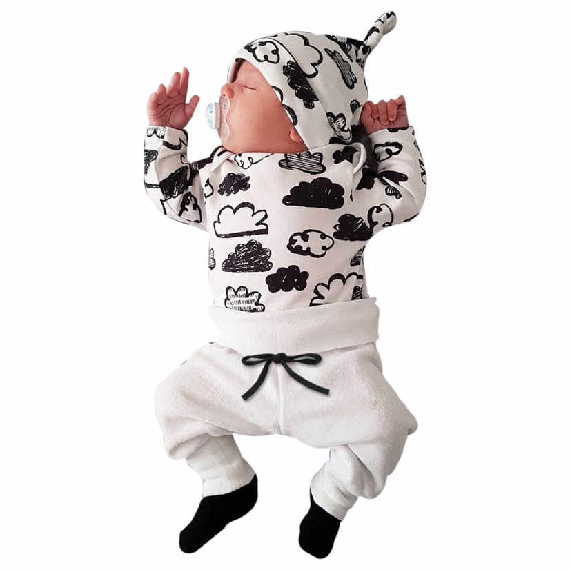 TELOTUNY Baby Boy Clothes Baby Clothing Set Fashion Cotton Long-sleeved Letter T-shirt+pants Newborn baby girl clothing set de26