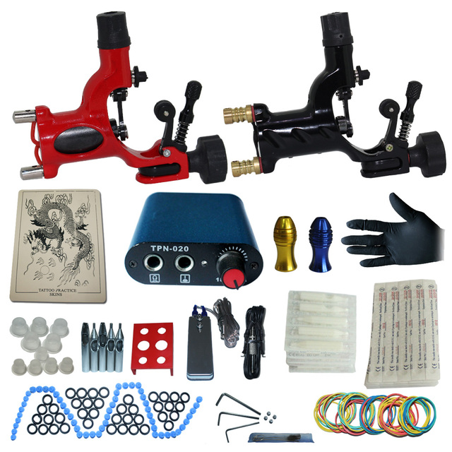 tattoo complete tattoo kit power supply+poot pedal+2 alloy grips+accessories 10kitB