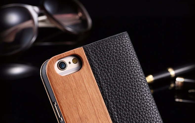 Vintage Genuine Bamboo Wood Flip Leathe Case For iPhone 6 6S Plus Real Rosewood Wooden Wallet Cover For iPhone 7 7 Plus Card Slot (20)