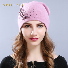 VEITHDIA Women's Hats Female Cashmere Casual Autumn Winter Brand New Crystal Double Layer Thick Knit