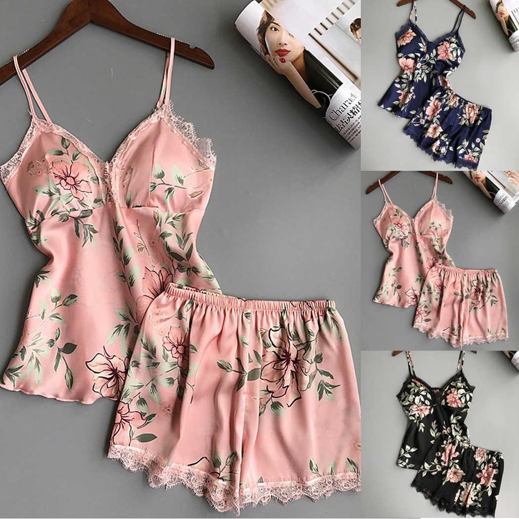 a3367bfac8b7 V Neck Women Lace Silk Pajamas Sets Sleepwear Sexy Floral Printed  Nightdress Shorts Female Nightgown Pyjama