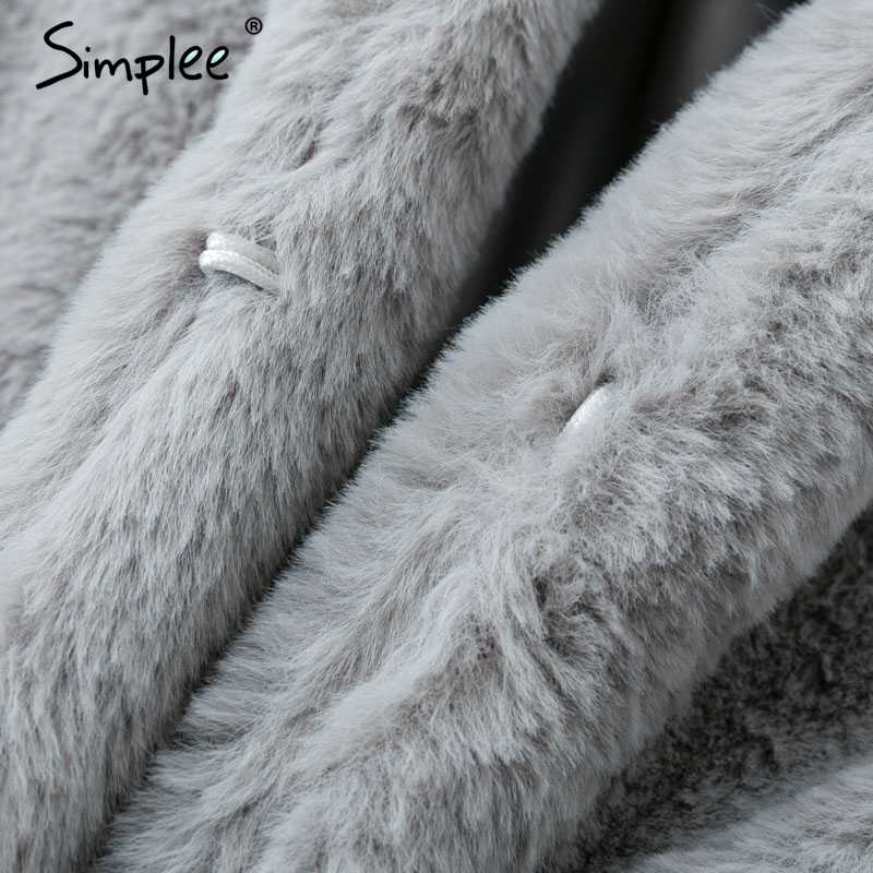 Женское розовое мохнатое пальто Simplee,осенняя, зимняя женская элегантная уличная одежда, женское теплое плюшевое праздничное пальто из искусственного меха большого размера