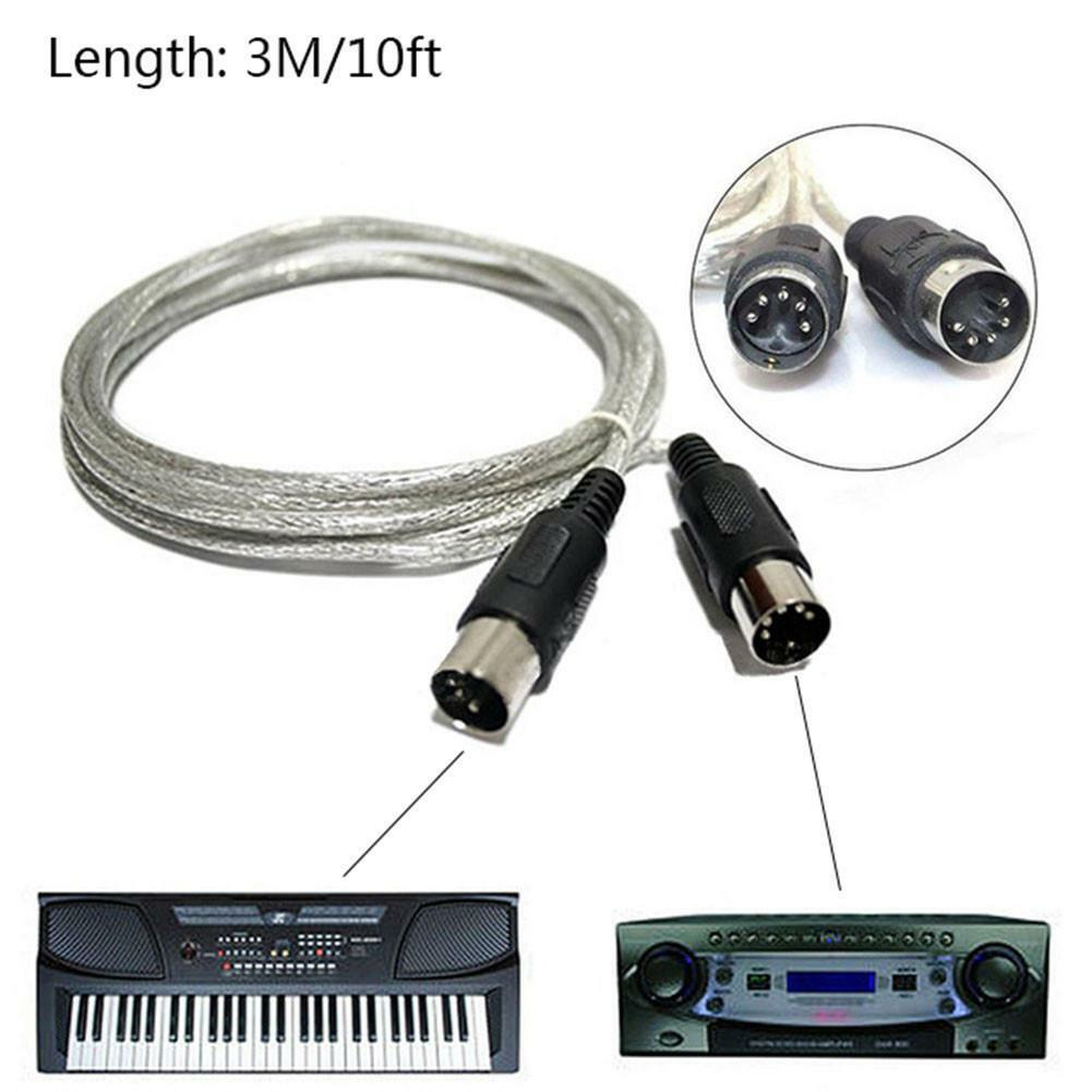 3 Meter Copper 5 Pin Plug Portable Connector Silver Stable Signal Transfer MIDI Extension Cable Male To Male Efficient Flexible