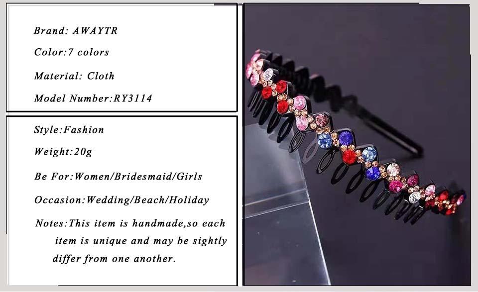 AWAYTR Hairbands Non-slip Bezel Colorful Rhinestone Flower Water Ripple Hair Hoop Headband for Women Hair Band Hair Accessories