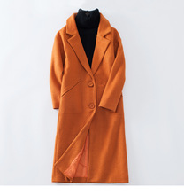 X-long orange wool coat