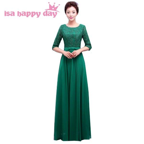 Rouge vert dentelle manches longues femme mariées robe de soirée robe 2019 nouveauté formelle robes de soirée manches élégantes H3765