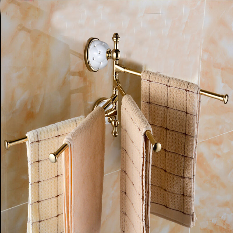 Luxury Golden Brass Swivel Towel Bars Wall Mounted Ceramic Towel Bars Hangers 4 Towel Rack Holder petek 1855 petek 1855 581 041 02 d brown
