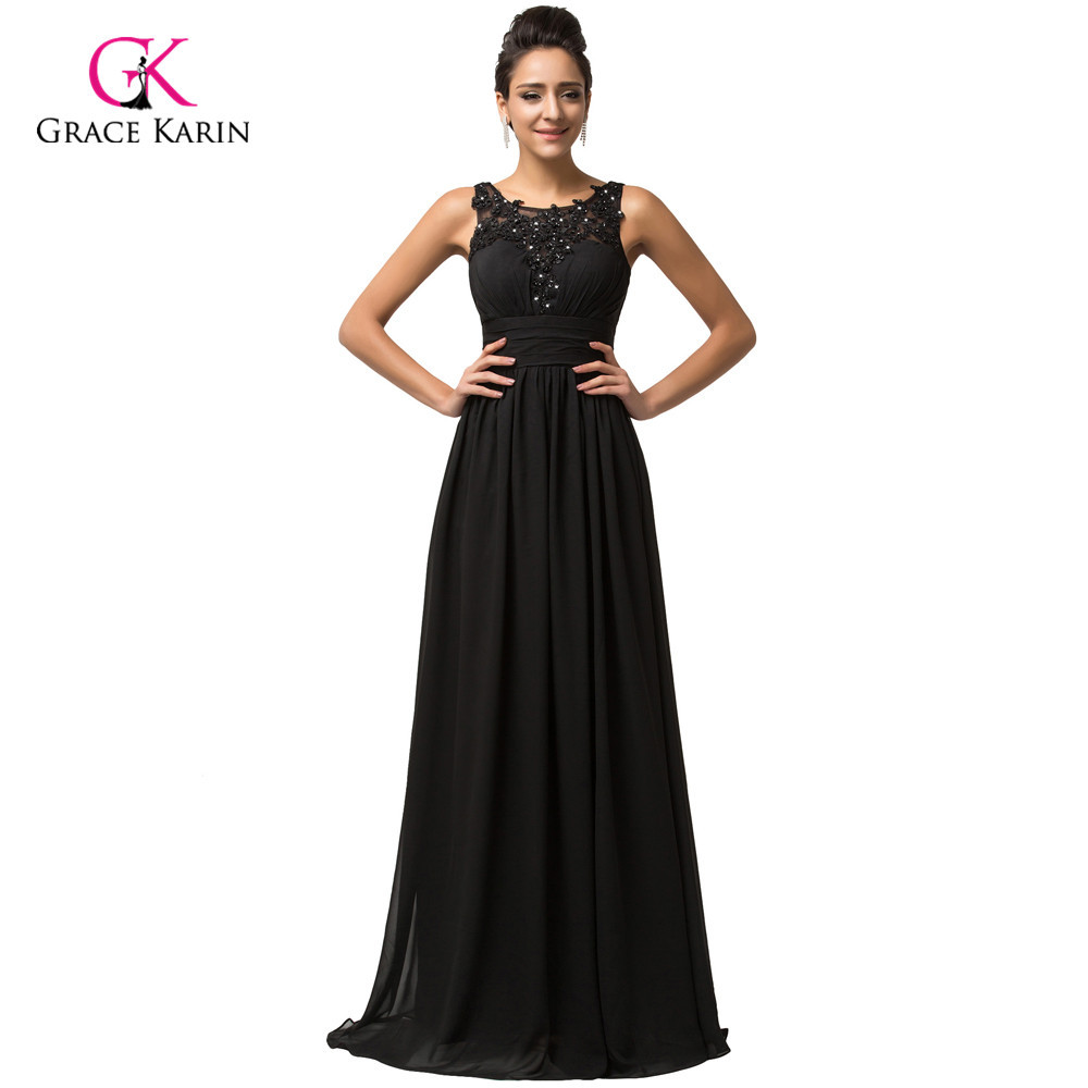 ᗕGrace Karin backless Black cheap Long Evening Dresses 2018 Chiffon ...