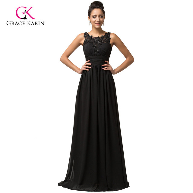 Gracia Karin backless negro barato largo Vestidos de noche 2018 gasa ...