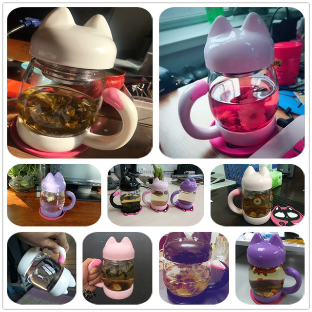 Cute Glass Water Coffee Kettle shaped Bottle With Filter 420ML 6