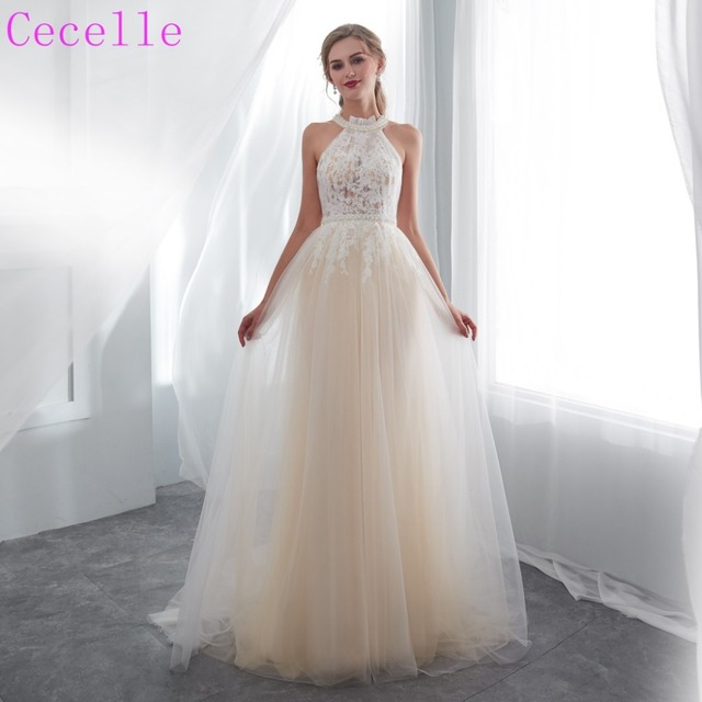 2019 Latest Y Sheer Top Tulle Boho Informal Wedding Dress Sleeveless Lace Liques Beach Bridal Gown